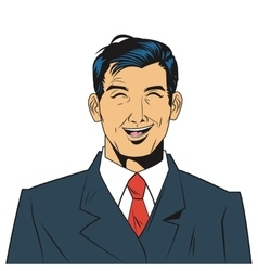 Man with jacket and tie laughing vector