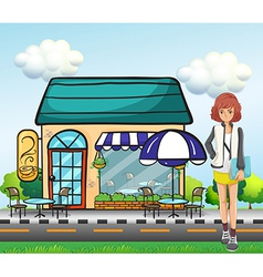 A girl in front of the coffee shop vector image vector image