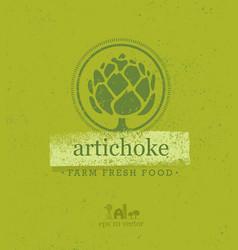artichoke farm fresh food eco green design vector image
