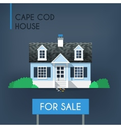 Blue cape cod country house vector