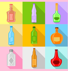Bottle forms icons set flat style vector