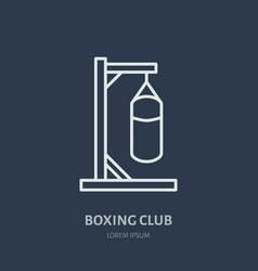 boxing line icon punching bag logo vector image vector image