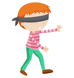 Boy blindfolded walking alone vector