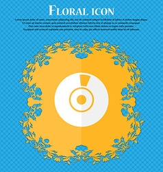 CD or DVD icon sign Floral flat design on a blue vector image