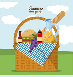 colorful poster of summer picnic with outdoor vector image