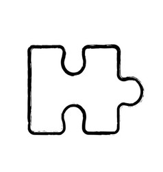 contour piece puzzle mental game vector image