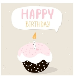 Cute cupcake with happy birthday wish greeting vector