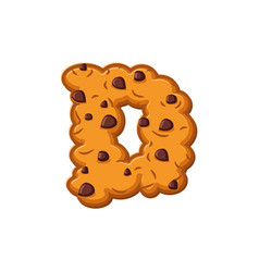 D letter cookies cookie font oatmeal biscuit vector