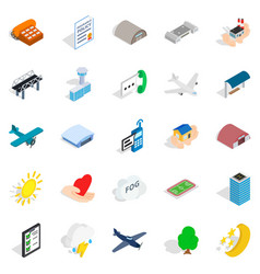 Flight icons set isometric style vector