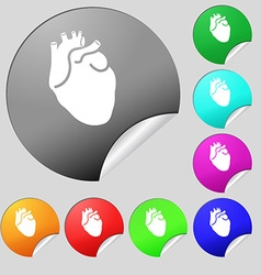Human heart icon sign Set of eight multi colored vector image vector image