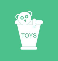 Icon on background teddy bear in bucket vector