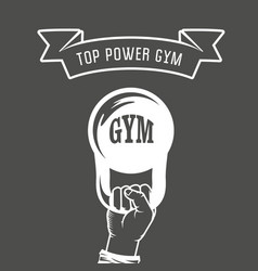 Iron weight in hand - weightlifting gym poster vector