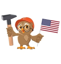 Labor Day USA Owl holding hammer and American vector image