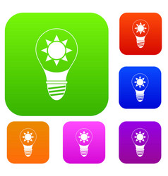 light bulb with sun inside set color collection vector image vector image