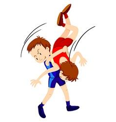 Men doing wrestling on white background vector image
