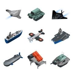 Military equipment isometric set vector
