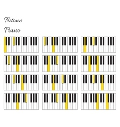 Piano tritone interval infographics with keyboard vector