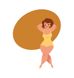 Plump plus size caucasian curvy woman girl in vector