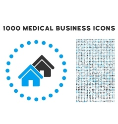 Realty icon with 1000 medical business pictograms vector