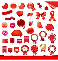 Red labels and symbols set vector