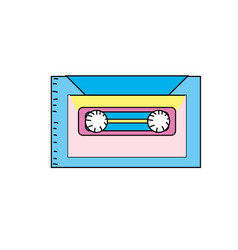 Retro cassete to listen kind music vector