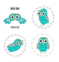 Set owl birds isolated on white background vector