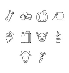 Thin line agriculture icon set vector