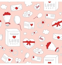 Valentines Day hand drawn objects seamless vector image vector image