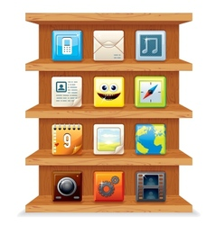 Wood shelves with computer apps icons vector