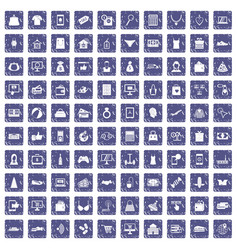 100 online shopping icons set grunge sapphire vector image vector image