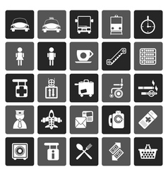 Flat airport travel and transportation icons vector