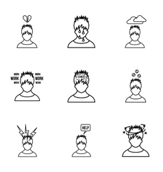 Emotions icons set outline style vector