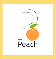 Peach and letter p coloring page vector