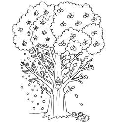Season coloring fruit tree vector