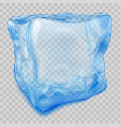 Transparent light blue ice cube vector