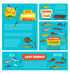 Fishing sport poster and banner template design vector
