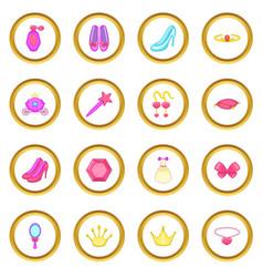 princess doll icons circle vector image