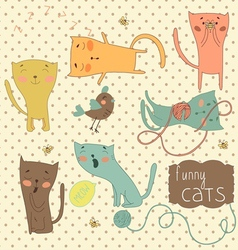 Set of funny cartoon cats vector