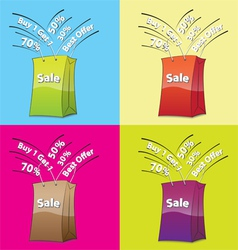 Colorful shopping bags for sale concept vector