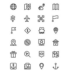 Map and navigation line icons 4 vector