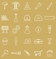 Construction line icons on brown background vector