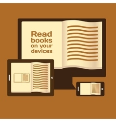 Reading books on electronic mobile devices vector