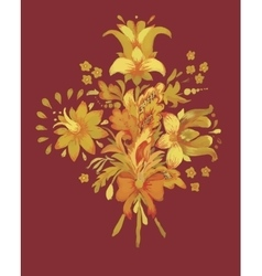 Watercolor flowers in classical style on a vinous vector