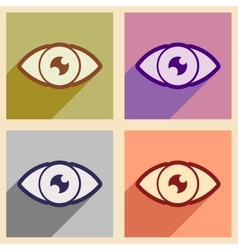 Icons of assembly human eye in flat style vector