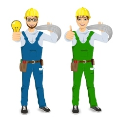 Electrician showing thumbs up vector