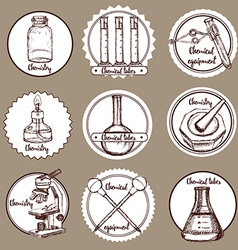 Sketch chemical logotypes vector