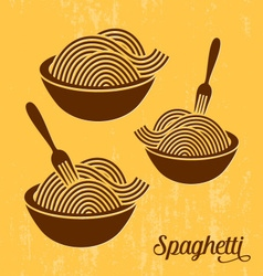 Spaghetti or noodle retro icons vector