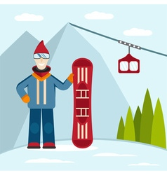 Flat design on ski and snowboard theme vector