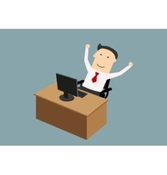 Businessman enjoying success with raised hands vector
