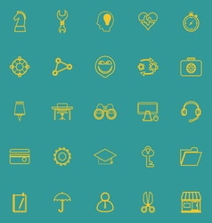 Human resource line icons yellow color vector